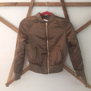 H&M quilted sleeve satin girls bomber jacket BNWOT